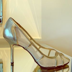 Dolce and Gabbana Gold peep-toe pumps